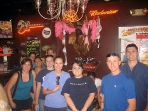 First Team Smurf photo @ Woody's. Yes, those are bras hanging from the stuffed moose head; it's a classy establishment